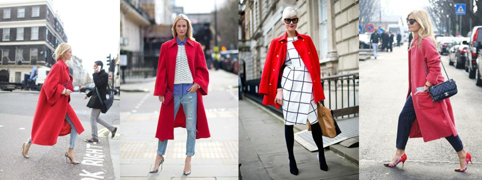 czerwony płaszcz stylizacje