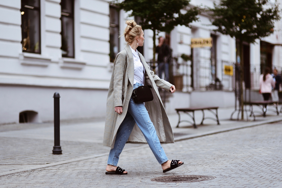 checked coat street style fashion outfit idea