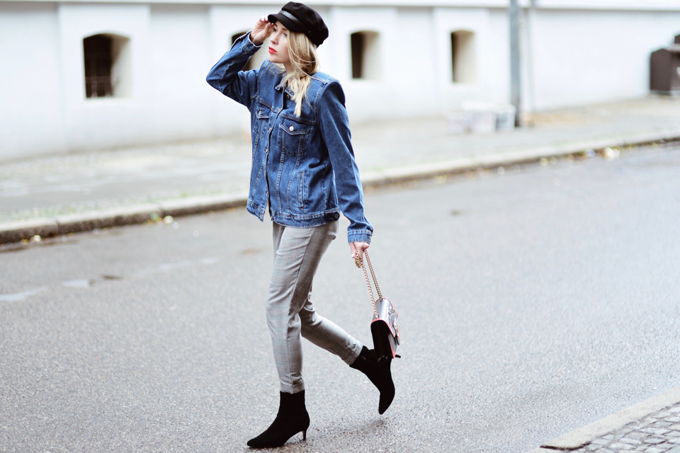 denim jacket with shoulder pads street style outfit idea