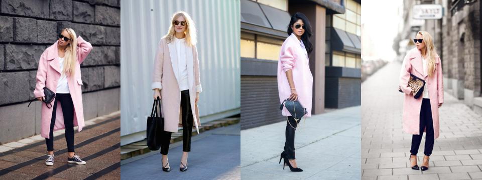 różowy płaszcz stylizacje