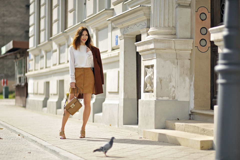button front suede skirt street style