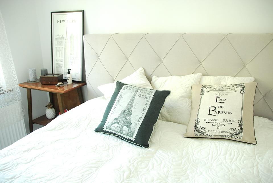Moja Sypialnia Białe ściany Szare łóżko Shiny Syl Blog