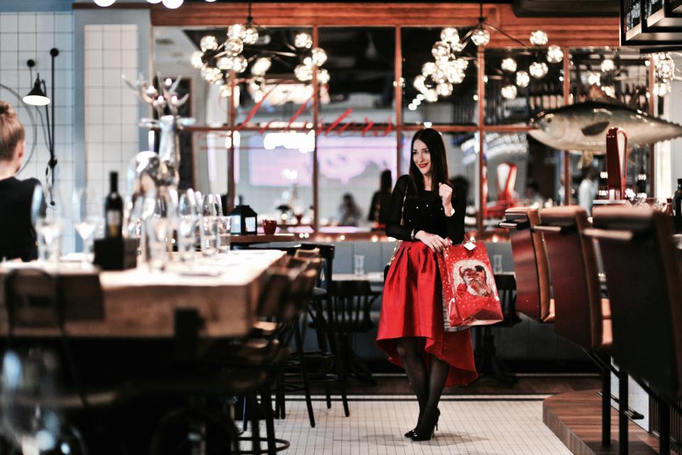 czerwona rozkloszowana spódnica świąteczna stylizacja