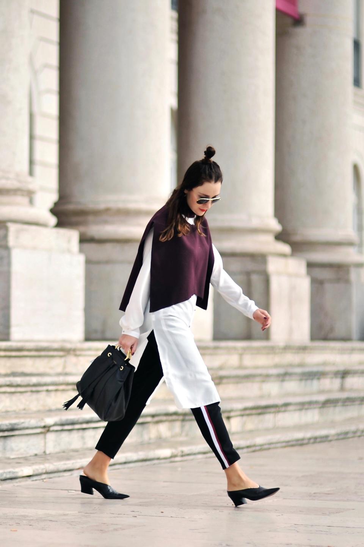 spodnie z lampasem stylizacja 3 Shiny Syl blog
