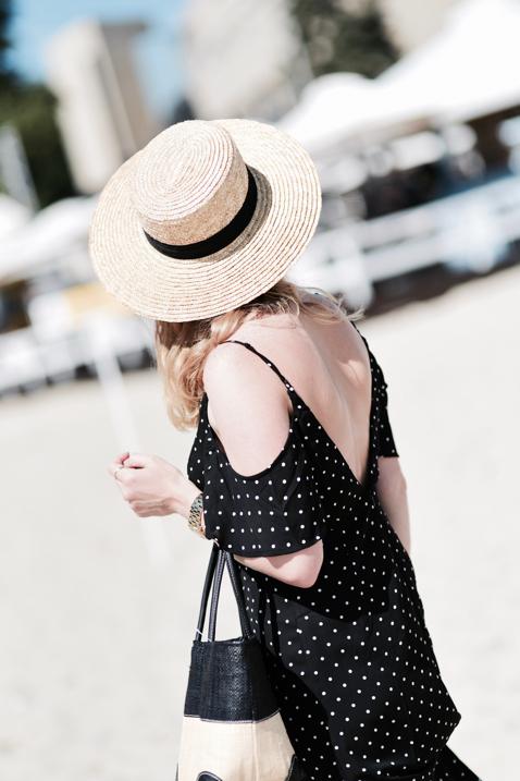 czarna-sukienka-w-groszki-słomiany-koszyk-kapelusz-kanotier-stylizacja