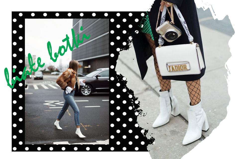 białe botki stylizacje jak nosić do czego nosić
