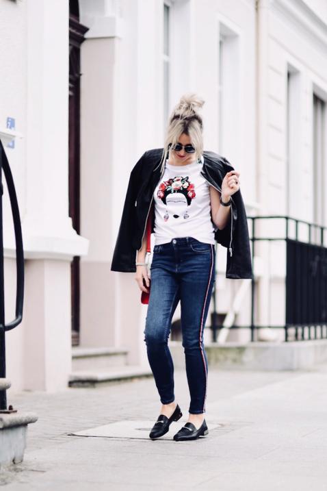spodnie z lampasami jak nosić do czego nosić stylizacja