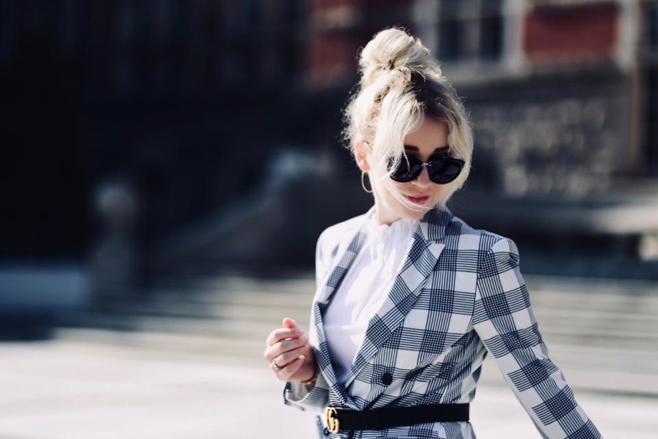 wzorzysta marynarka jak nosić do czego nosić stylizacja blog o modzie
