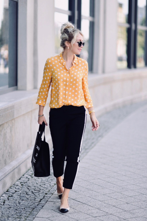 musztardowa-koszula-w-groszki-do-czego-pasuje-stylizacja